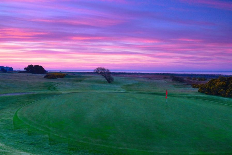 3rd Hole Green To Tee And Sunrise