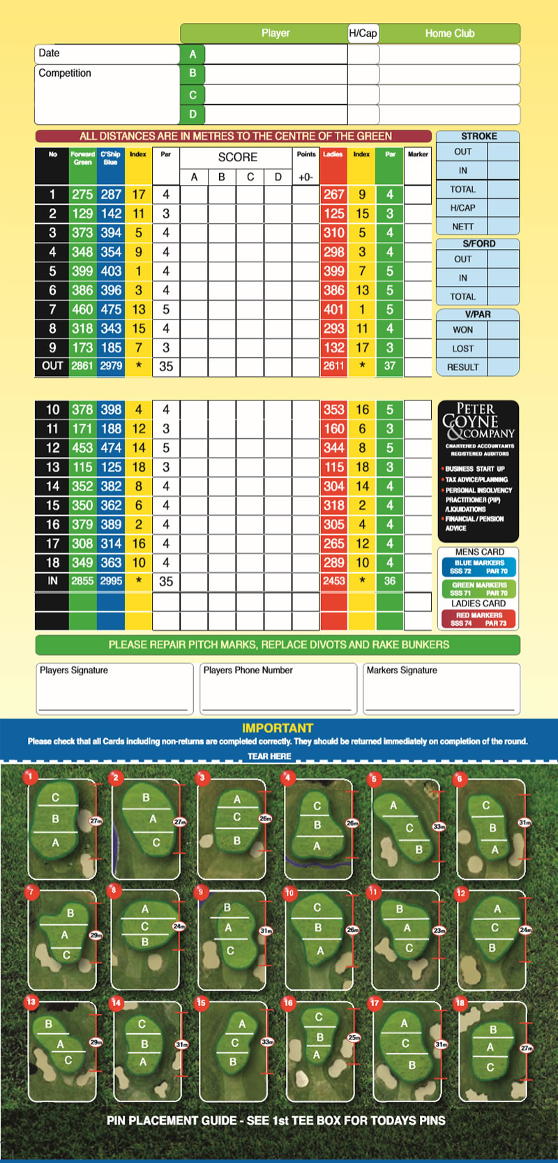 Galway Golf Course Course Card